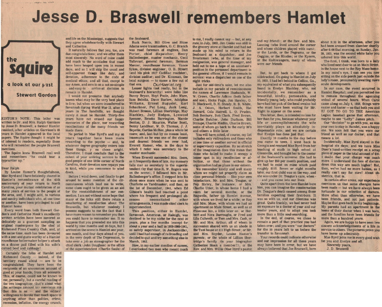 The Squire - Jesse D Braswell remembers Hamlet OH