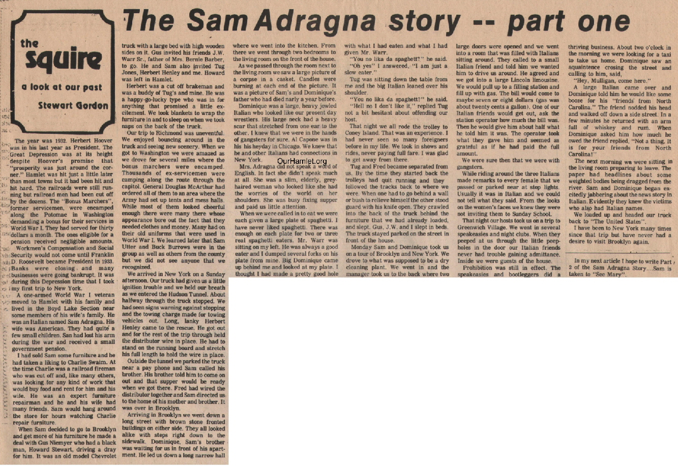 The Squire - Sam Adragna Story Part 1 OH