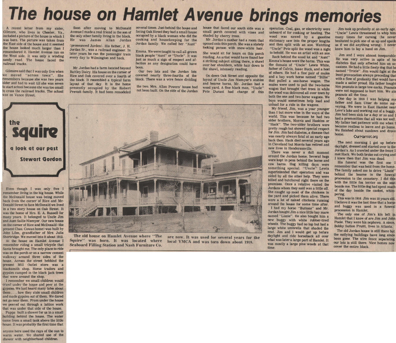 The Squire - The house on Hamlet Avenue brings memories OH